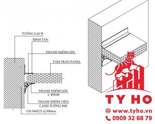 Liên kết giữa tường gạch và trần Panel